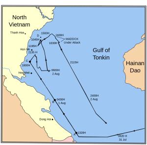 Mapa que indica las acciones en Tonkin el 2 de agosto