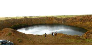 El lago artificial de Chagan, resultado de un cráter nuclear.