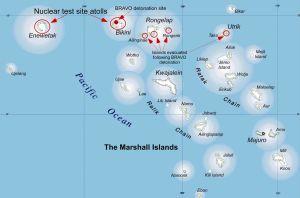 Las Islas Marshall con los sitios de las pruebas nucleares.