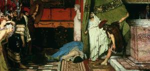 Claudio se esconde tras la cortina, de Lawrence Alma Tadema