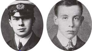 Phillips y Bride, operarios de Marconi en el Titanic.