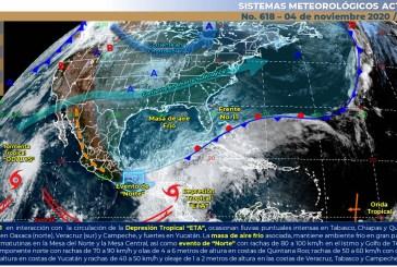 ETA y Frente Frío 11 seguirán bañando a Tabasco, Chiapas y Quintana Roo