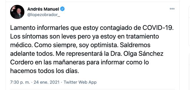 El presidente Andrés Manuel López Obrador anuncia que tiene Covid-19
