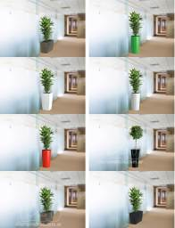 3D plant containers on background corridor photo