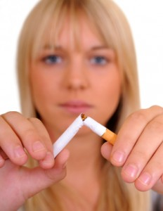 Broken Cigarette and Young Woman