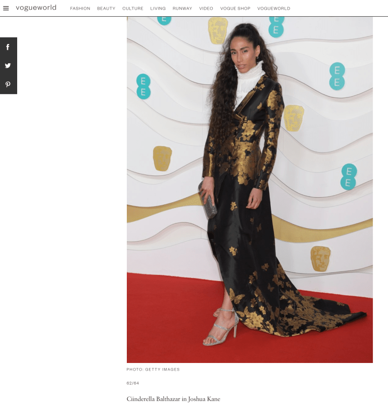 American Vogue Magazine - Bafta Awards - Ciinderella Balthazar
