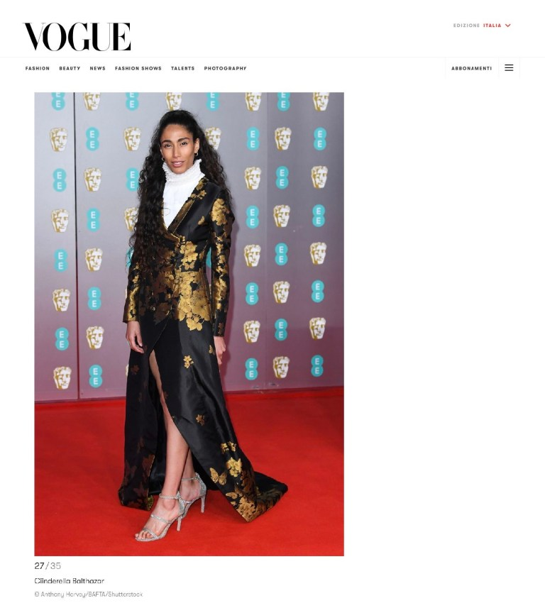 Vogue Italia - Bafta Awards - Ciinderella Balthazar