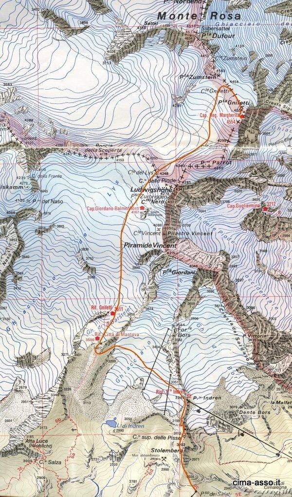 mappa ghiacciao del Lys