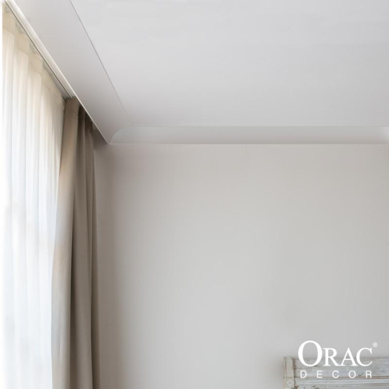 c991 corniche pour eclairage indirect et cache tringle a rideau orac decor 11x14x200cm h x p x l moulure decorative polyurethane