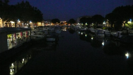 Beaucaire port night time, France