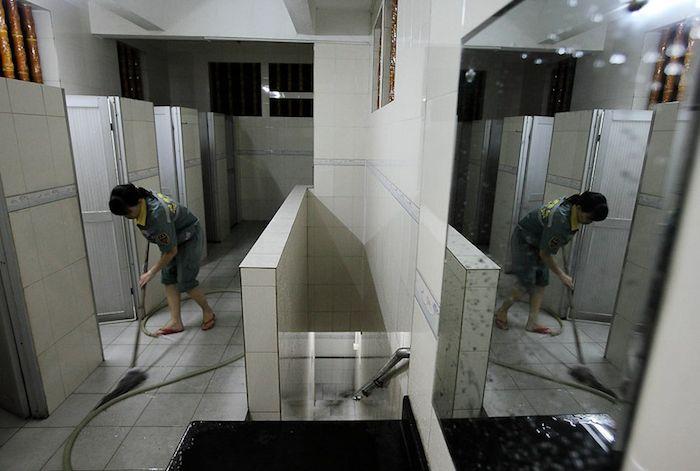 Living in a public toilet