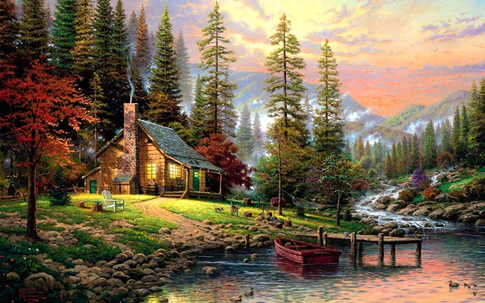 Paisaje montañoso con casa a orillas del río (Bob Ross)