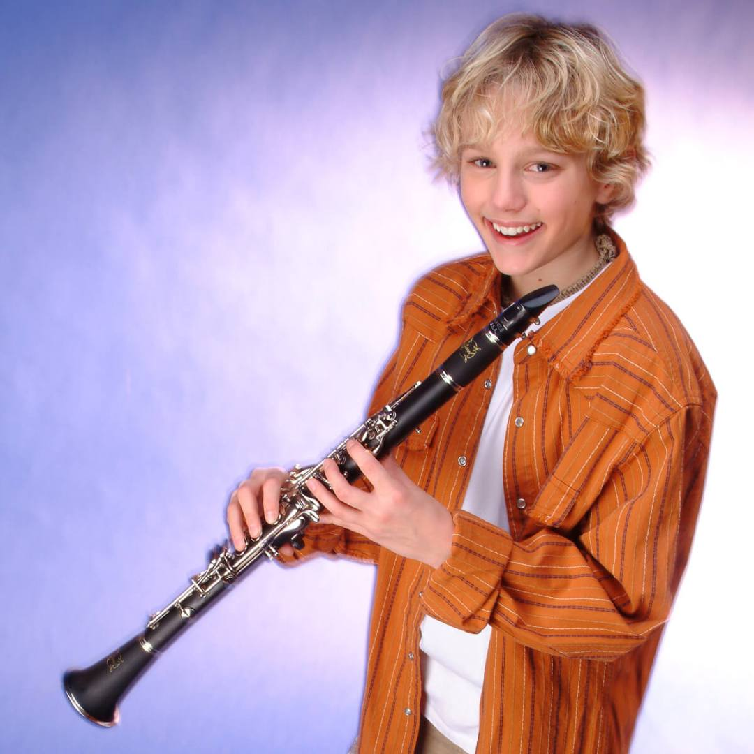 Boy taking clarinet lessons in Katy