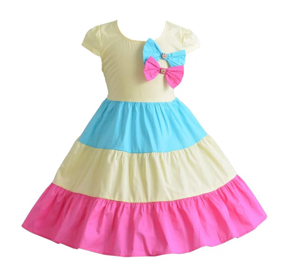 Cinda Premium Bella Three Coloured Cotton Dress