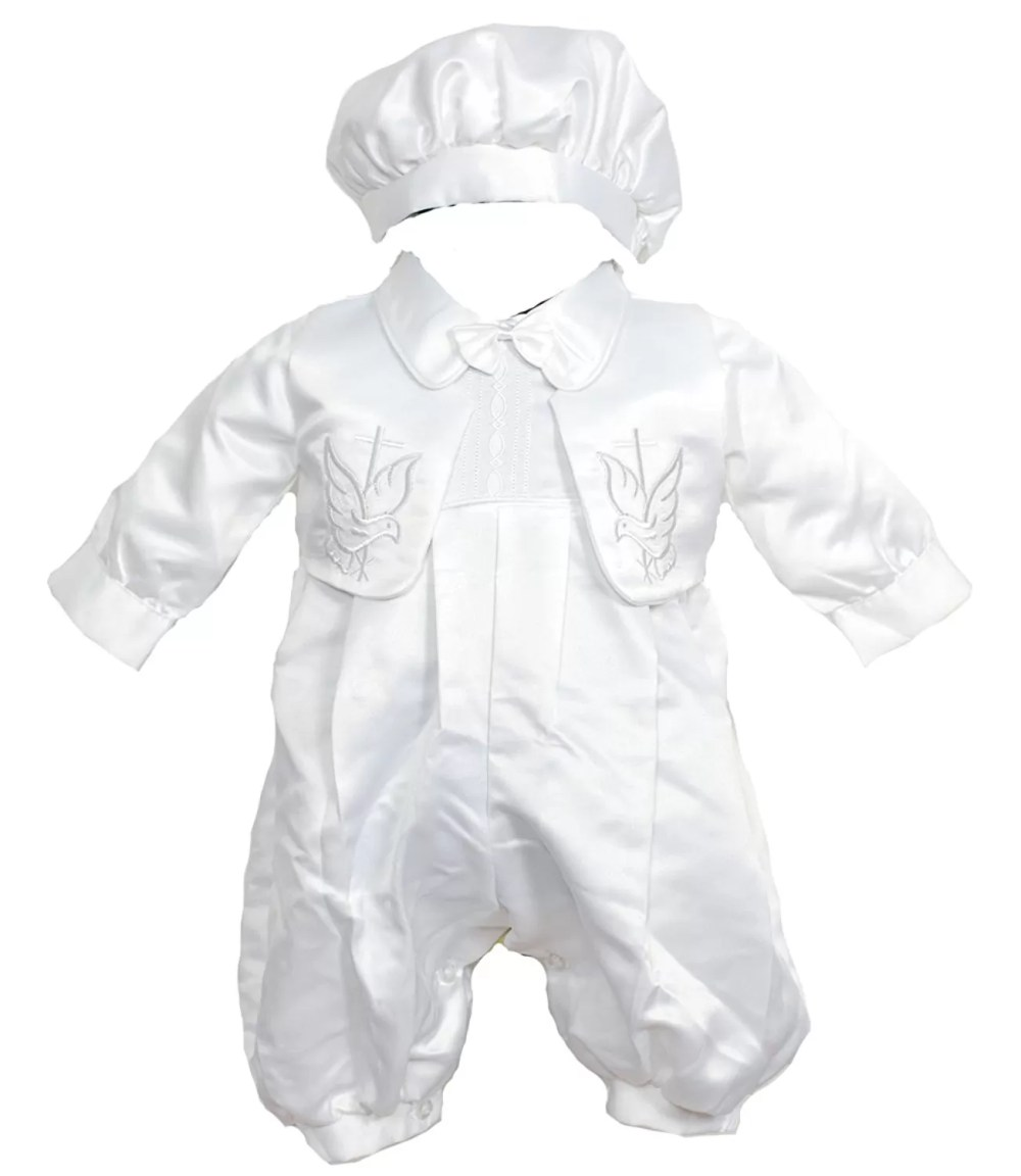 Baby Boys Christening Gown,Waistcoat and Hat White