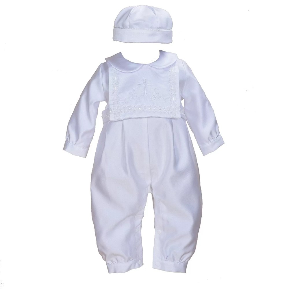 Cinda Boys Satin Christening Romper Set with Hat and Bib