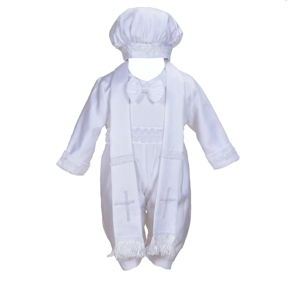 Cinda Boys Satin Christening 3 Piece Set with Hat and Scarf