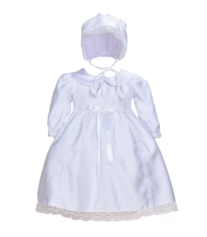 Cinda White Baby Satin Long Sleeves Christening Dress with Bonnet