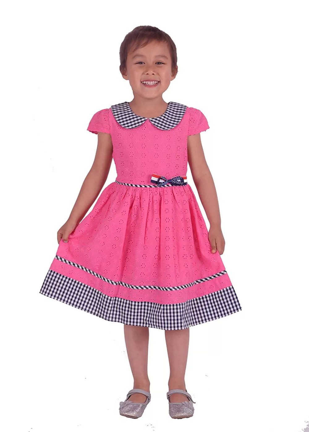 Cinda Girls Floral Embroidered Cotton Party Dress