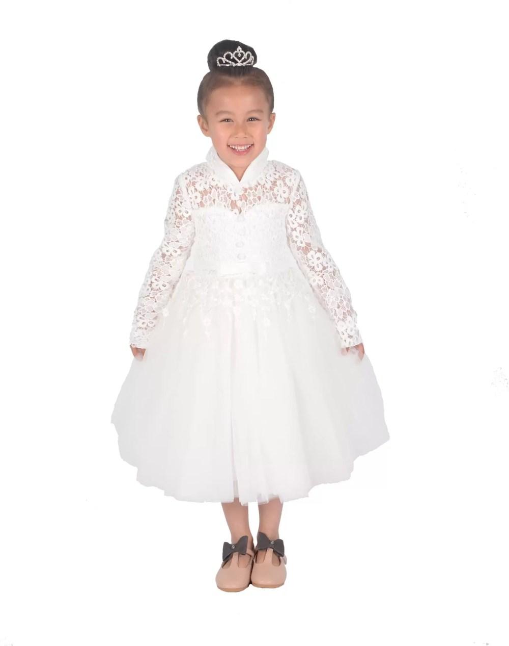 Cinda Girls Long Sleeve Ivory Lace Bridesmaid Dress Flower Girl Dress
