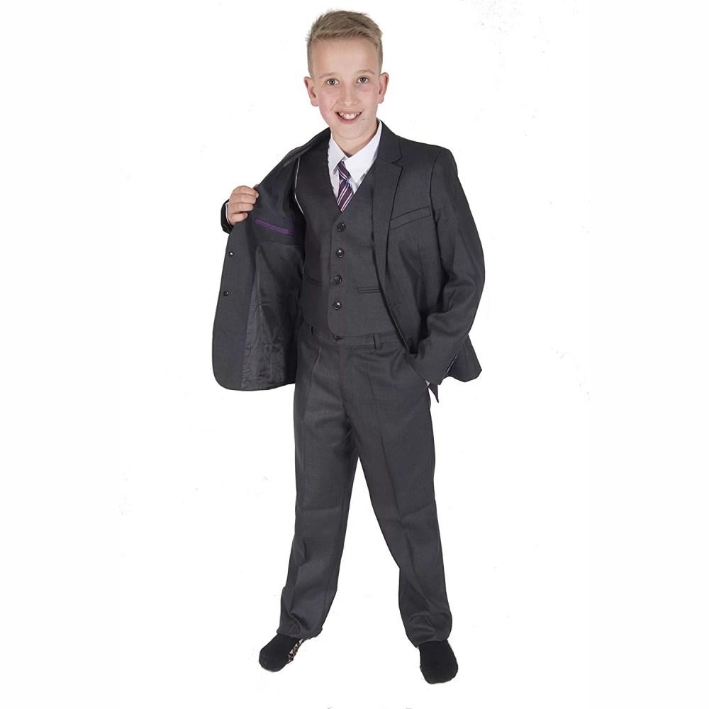 5 Piece Dark Grey Boy Suits Boys Wedding Suit Page Boy Party Prom