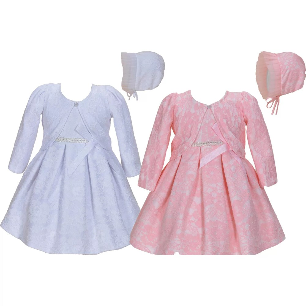 Baby Lace Christening Party Dress Bonnet and Jacket 904C304