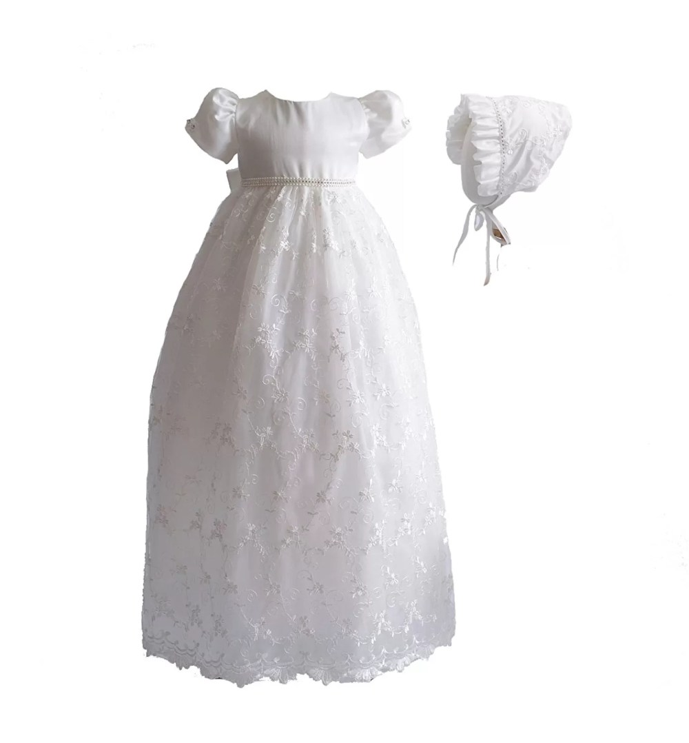 Baby Girls Lace Long Christening Gown With Bonnet
