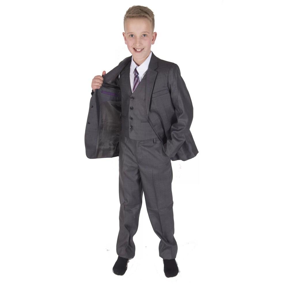 5 Piece Grey Boy Suits Boys Wedding Suit Page Boy Party Prom