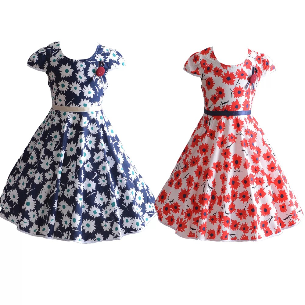 Girls Daisy Summer Cotton Party Dress Blue Red 4 5 6 7 8 Years XL7071