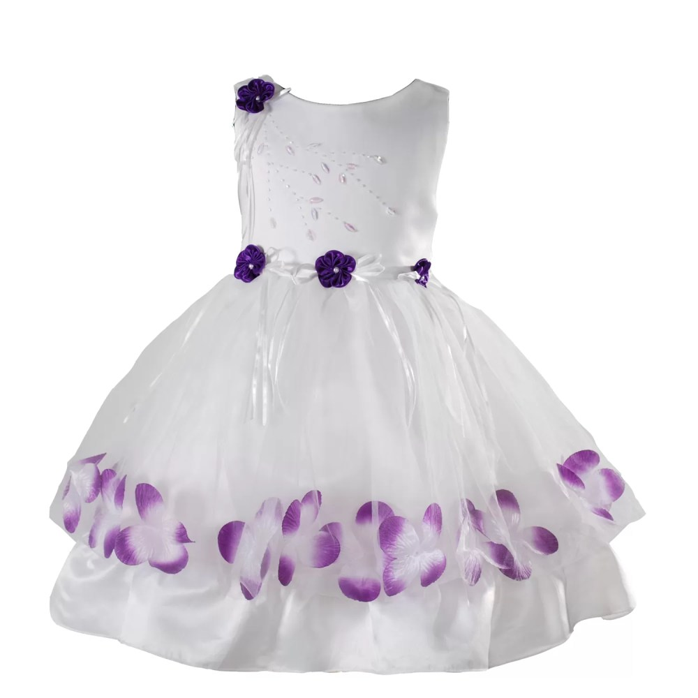 Flower Girl Party Dress Pink Burgundy Black Orange Blue Purple 9 Months to 7 Years