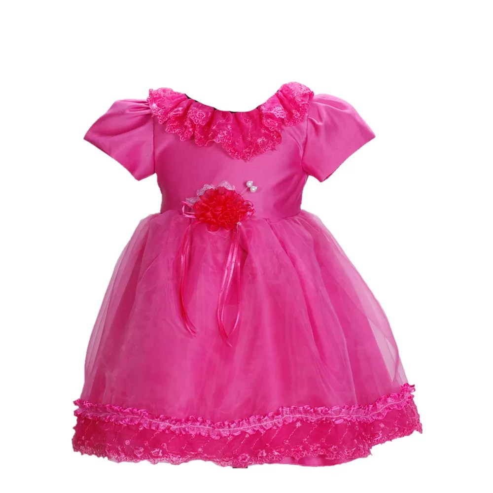 Baby Girls Christening Dress Party Dress Ivory Hot Pink 937