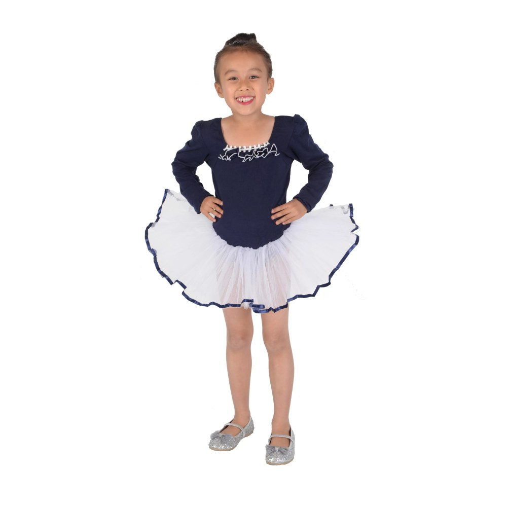 Girls Long Sleeve Ballet Dance Tutu Dress Pink Blue 4 5 6 7 8 9 Years