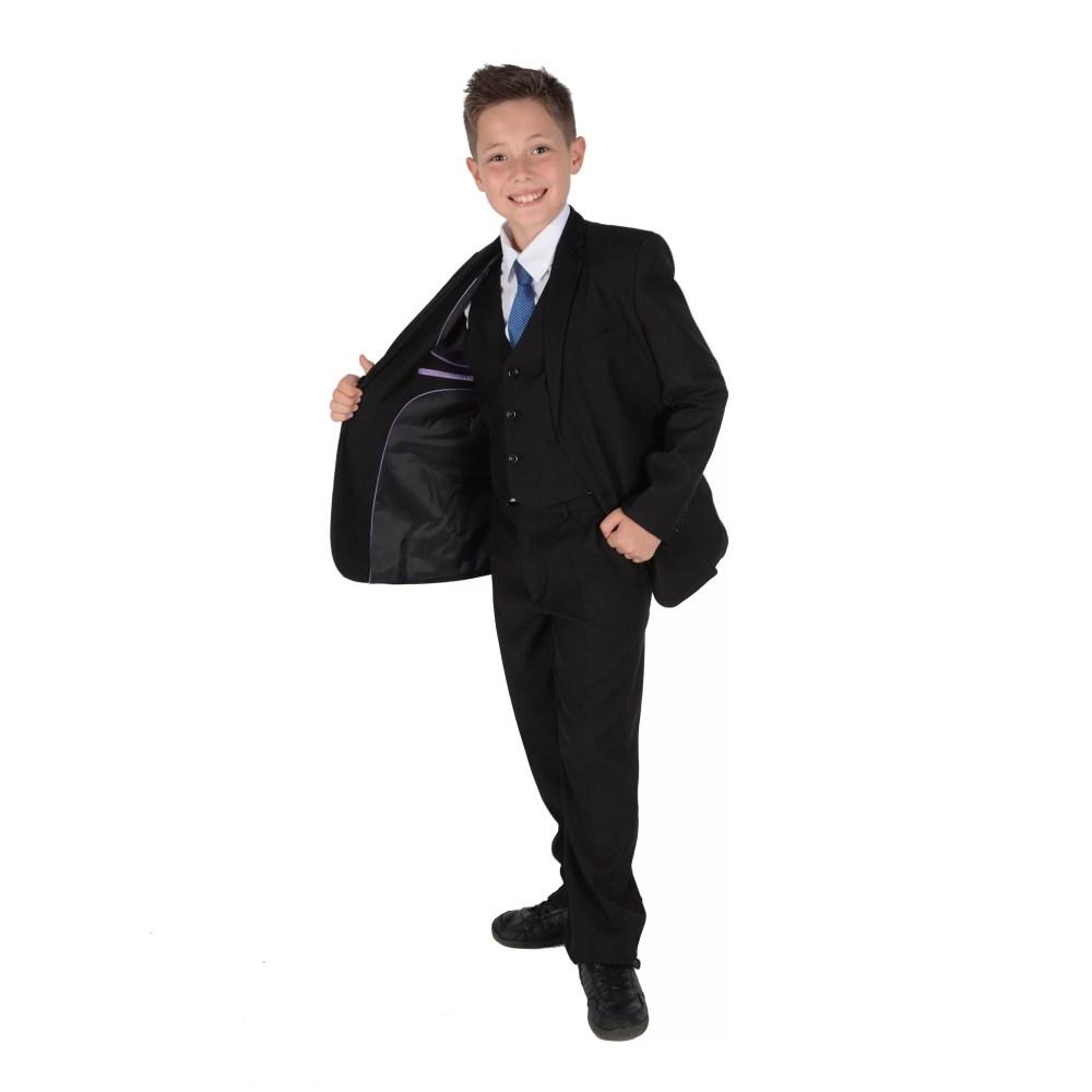 5 Piece Black Boy Suits Boys Wedding Suit Page Boy Party Prom