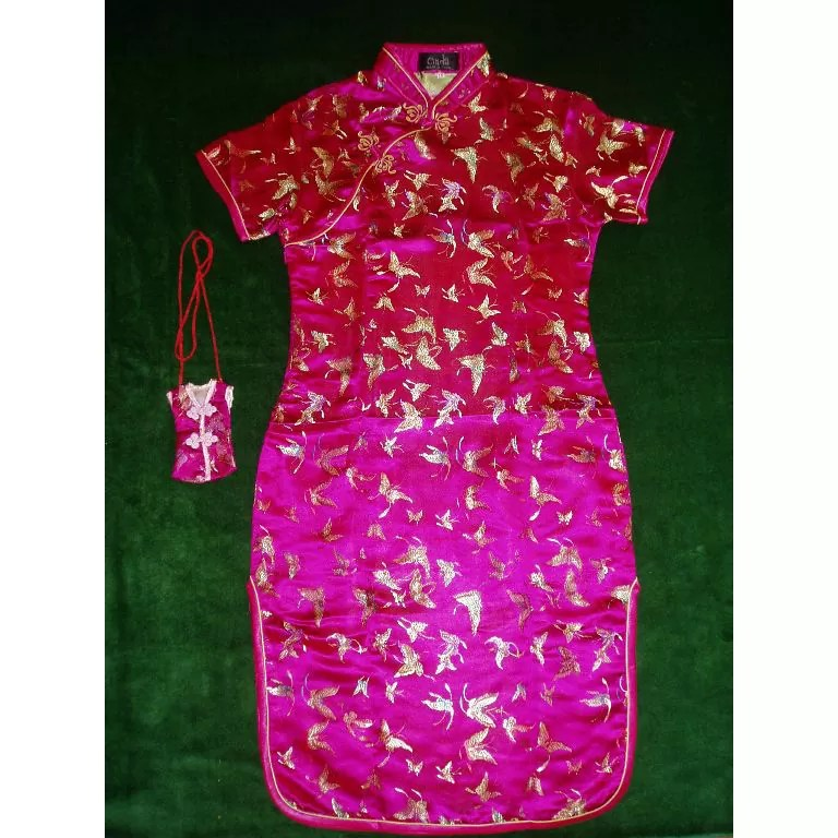 Girls Hot Pink Oriental Chinese Dress Qipao Cheongsam with Purse Butterfly