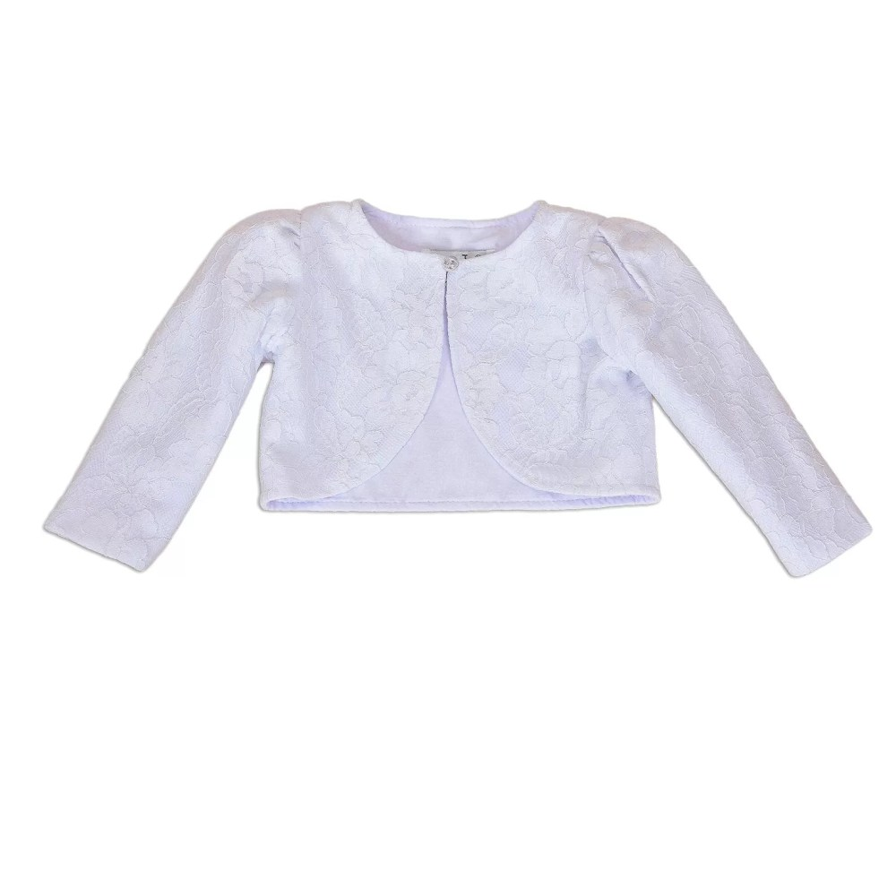 Long Sleeve Baby Bolero Jacket 0-3 3-6 6-12 12-18 in White Ivory Pink