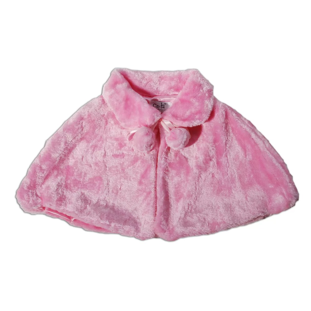 Girls Pink Faux Fur Bolero Poncho Pink 2-8 Years