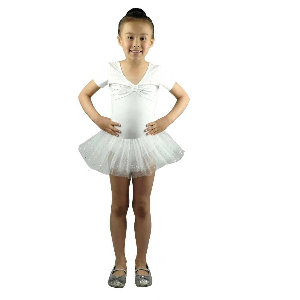 GIRLS BALLET DRESS DANCE TUTU DRESS Ivory 2-6  YEARS