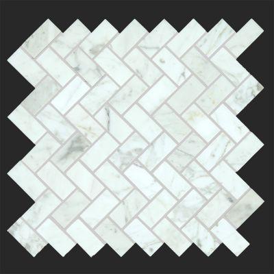 Bianco Carrarra marble Polished Marble Herringbone Mosaic Tile