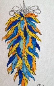 Chili peppers in yellow, orange, and blue.
