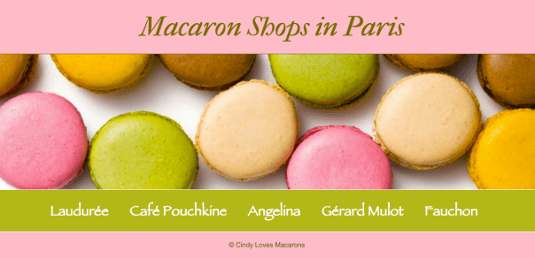A screenshot of the landing page of the Macarons in Paris website