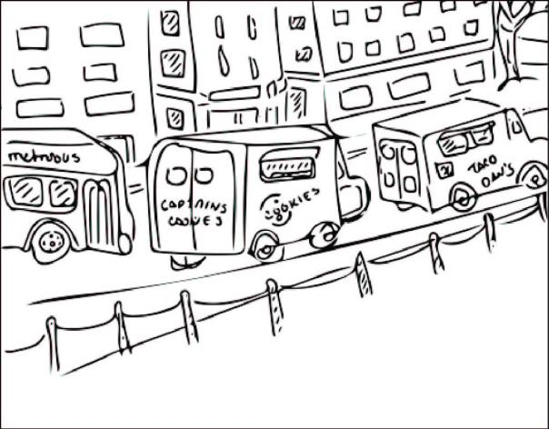 drawing of food trucks