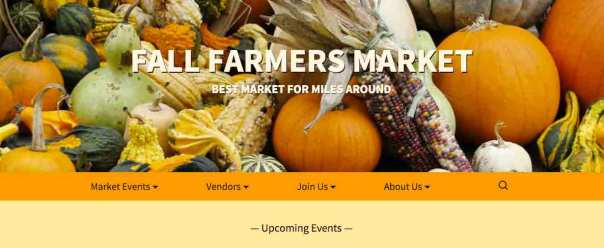header image for the fall farmers market site