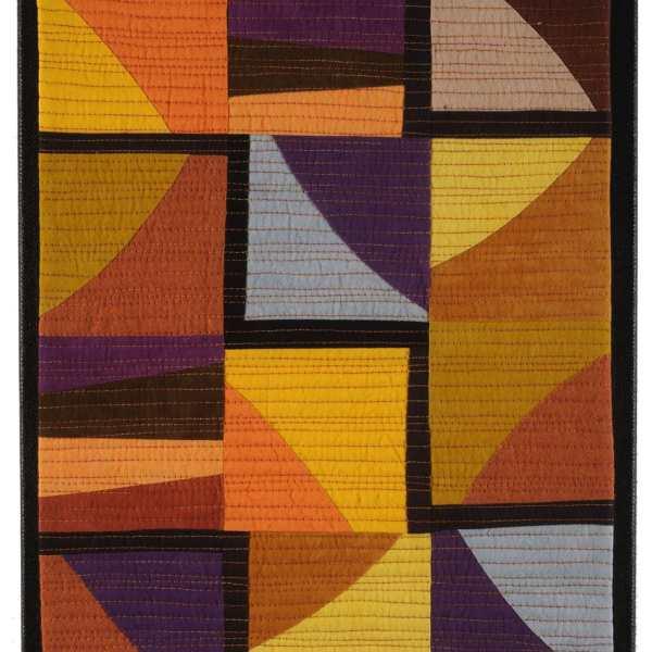 Autumn Maze Art Quilt in Gold and Purple - Cindy Grisdela