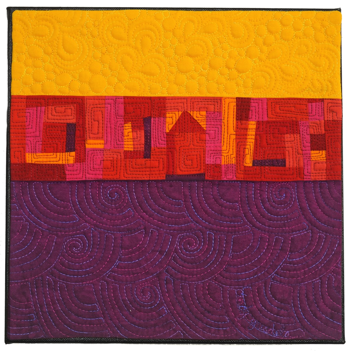 Sunset Boulevard art quilt in purple and gold - Cindy Grisdela