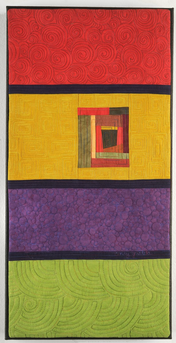 Timeline Art Quilt in red, gold, purple and green - Cindy Grisdela