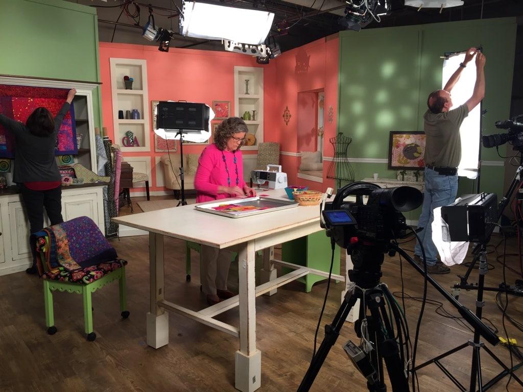 On set at Quilting Arts TV - Cindy Grisdela