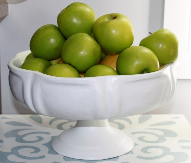 painted wooden fruit bowl