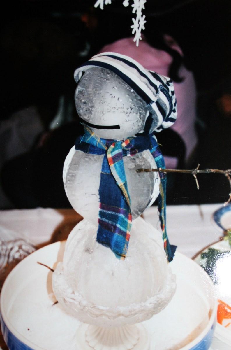 snowman ice sculpture