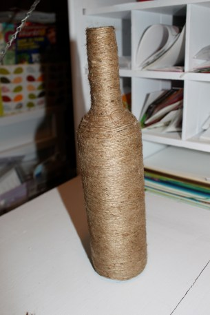 jute wrapped wine bottle