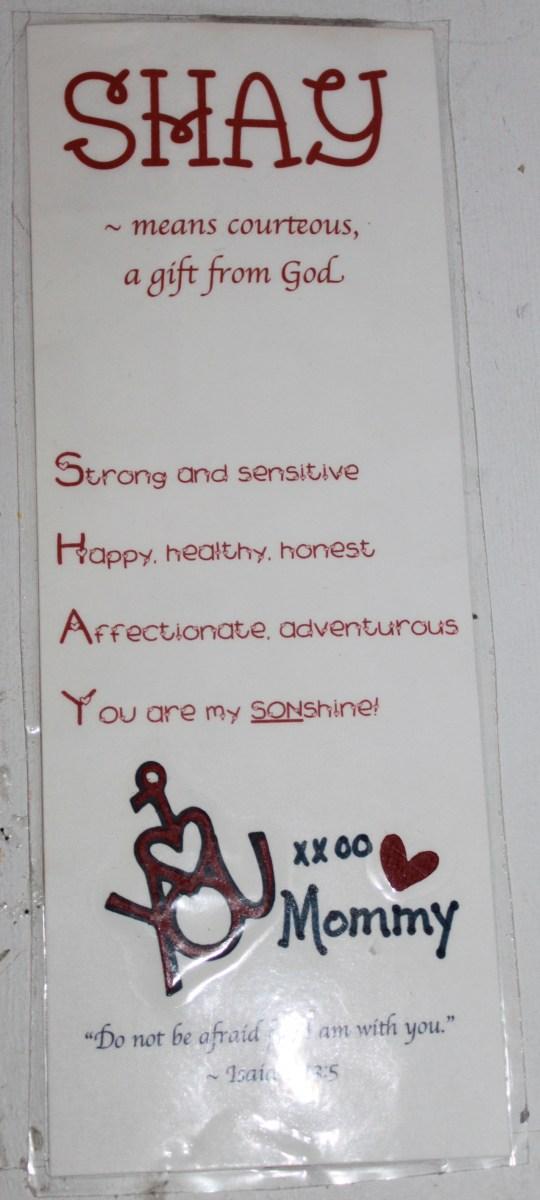 Personalized Valentine Bookmark